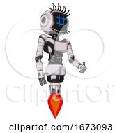 Cyborg Containing Digital Display Head And Hashtag Face And Eye Lashes Deco And Light Chest Exoshielding And Ultralight Chest Exosuit And Jet Propulsion White Halftone Toon Facing Left View