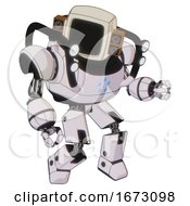 Robot Containing Old Computer Monitor And Old Retro Speakers And Heavy Upper Chest And Circle Of Blue Leds And Shoulder Headlights And Prototype Exoplate Legs White Halftone Toon