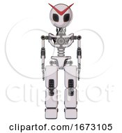 Robot Containing Grey Alien Style Head And Black Eyes And Light Chest Exoshielding And No Chest Plating And Prototype Exoplate Legs White Halftone Toon Front View