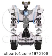 Mech Containing Dual Retro Camera Head And Simple Blue Telescopic Eye Head And Heavy Upper Chest And Heavy Mech Chest And Spectrum Fusion Core Chest And Tank Tracks White Halftone Toon Front View