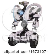Mech Containing Dual Retro Camera Head And Simple Blue Telescopic Eye Head And Heavy Upper Chest And Heavy Mech Chest And Spectrum Fusion Core Chest And Tank Tracks White Halftone Toon