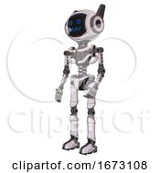 Android Containing Digital Display Head And Stunned Expression And Winglets And Light Chest Exoshielding And No Chest Plating And Ultralight Foot Exosuit White Halftone Toon Facing Right View
