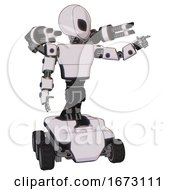 Poster, Art Print Of Mech Containing Grey Alien Style Head And Black Eyes And Light Chest Exoshielding And Prototype Exoplate Chest And Minigun Back Assembly And Six-Wheeler Base White Halftone Toon