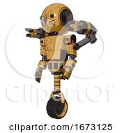 Automaton Containing Round Head And Light Chest Exoshielding And Prototype Exoplate Chest And Minigun Back Assembly And Unicycle Wheel And Cat Face Construction Yellow Halftone Facing Right View
