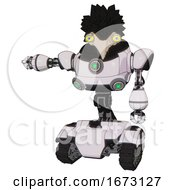 Bot Containing Bird Skull Head And Big Yellow Eyes And Crow Feather Design And Heavy Upper Chest And Chest Green Energy Cores And Tank Tracks White Halftone Toon Arm Out Holding Invisible Object