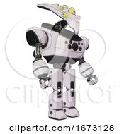 Bot Containing Flat Elongated Skull Head And Yellow Eyeball Array And Heavy Upper Chest And Chest Compound Eyes And Prototype Exoplate Legs White Halftone Toon Facing Left View