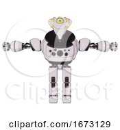 Bot Containing Flat Elongated Skull Head And Yellow Eyeball Array And Heavy Upper Chest And Chest Compound Eyes And Prototype Exoplate Legs White Halftone Toon T Pose