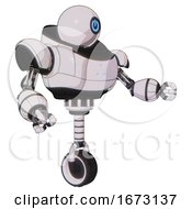 Cyborg Containing Dual Retro Camera Head And Power Symbol Head And Heavy Upper Chest And Triangle Of Blue Leds And Unicycle Wheel White Halftone Toon Interacting