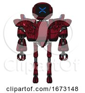 Robot Containing Digital Display Head And Wince Symbol Expression And Heavy Upper Chest And Heavy Mech Chest And Battle Mech Chest And Ultralight Foot Exosuit Grunge Dots Royal Red Front View