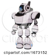 Bot Containing Digital Display Head And Three Vertical Line Design And Winglets And Heavy Upper Chest And Light Leg Exoshielding White Halftone Toon Standing Looking Right Restful Pose