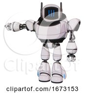 Bot Containing Digital Display Head And Three Vertical Line Design And Winglets And Heavy Upper Chest And Light Leg Exoshielding White Halftone Toon Arm Out Holding Invisible Object