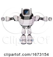 Bot Containing Digital Display Head And Three Vertical Line Design And Winglets And Heavy Upper Chest And Light Leg Exoshielding White Halftone Toon T Pose