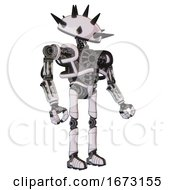 Automaton Containing Thorny Domehead Design And Heavy Upper Chest And No Chest Plating And Ultralight Foot Exosuit White Halftone Toon Facing Left View