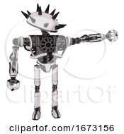 Automaton Containing Thorny Domehead Design And Heavy Upper Chest And No Chest Plating And Ultralight Foot Exosuit White Halftone Toon Pointing Left Or Pushing A Button