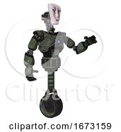 Android Containing Humanoid Face Mask And War Paint And Light Chest Exoshielding And Blue Energy Core And Unicycle Wheel Old Corroded Copper Interacting