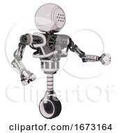 Cyborg Containing Dots Array Face And Heavy Upper Chest And No Chest Plating And Unicycle Wheel White Halftone Toon Interacting