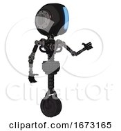 Android Containing Round Head And Large Vertical Visor And Light Chest Exoshielding And No Chest Plating And Unicycle Wheel Dirty Black Interacting