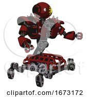 Robot Containing Oval Wide Head And Sunshine Patch Eye And Heavy Upper Chest And Heavy Mech Chest And Shoulder Spikes And Insect Walker Legs Matted Red Interacting