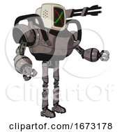 Mech Containing Old Computer Monitor And Colored X Display And Heavy Upper Chest And Ultralight Foot Exosuit Light Pink Beige Interacting
