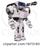 Android Containing Dual Retro Camera Head And Retro 80s Head And Heavy Upper Chest And Prototype Exoplate Legs White Halftone Toon Facing Left View