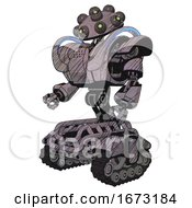 Automaton Containing Many Robo Eye Domehead Design And Heavy Upper Chest And Heavy Mech Chest And Battle Mech Chest And Tank Tracks Dark Sketch Lines Facing Right View