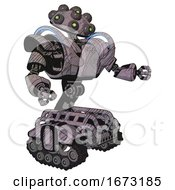 Automaton Containing Many Robo Eye Domehead Design And Heavy Upper Chest And Heavy Mech Chest And Battle Mech Chest And Tank Tracks Dark Sketch Lines Interacting