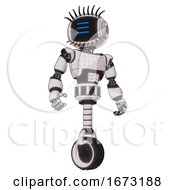 Mech Containing Digital Display Head And Three Horizontal Line Design And Eye Lashes Deco And Light Chest Exoshielding And Chest Green Blue Lights Array And Unicycle Wheel White Halftone Toon