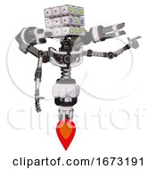 Robot Containing Dual Retro Camera Head And Cube Array Head And Light Chest Exoshielding And Minigun Back Assembly And No Chest Plating And Jet Propulsion White Halftone Toon