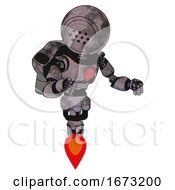 Mech Containing Dots Array Face And Light Chest Exoshielding And Red Chest Button And Rocket Pack And Jet Propulsion Sketch Pad Cloudy Smudges Fight Or Defense Pose