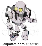 Droid Containing Round Head And Large Yellow Eyes And Heavy Upper Chest And Chest Compound Eyes And Light Leg Exoshielding And Megneto Hovers Foot Mod White Halftone Toon Fight Or Defense Pose
