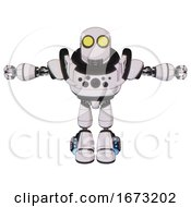 Droid Containing Round Head And Large Yellow Eyes And Heavy Upper Chest And Chest Compound Eyes And Light Leg Exoshielding And Megneto Hovers Foot Mod White Halftone Toon T Pose