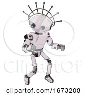 Bot Containing Oval Wide Head And Telescopic Steampunk Eyes And Techno Halo Ornament And Light Chest Exoshielding And Prototype Exoplate Chest And Ultralight Foot Exosuit White Halftone Toon