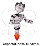 Bot Containing Humanoid Face Mask And Spiral Design And Light Chest Exoshielding And Chest Valve Crank And Jet Propulsion White Halftone Toon Fight Or Defense Pose