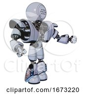 Droid Containing Dots Array Face And Heavy Upper Chest And Heavy Mech Chest And Light Leg Exoshielding And Megneto Hovers Foot Mod Blue Tint Toon Interacting