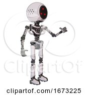 Automaton Containing Three Led Eyes Round Head And Light Chest Exoshielding And No Chest Plating And Ultralight Foot Exosuit White Halftone Toon Interacting