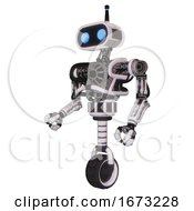Robot Containing Dual Retro Camera Head And Cute Retro Robo Head And Bug Eyes And Heavy Upper Chest And No Chest Plating And Unicycle Wheel White Halftone Toon Facing Right View