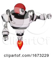 Automaton Containing Grey Alien Style Head And Black Eyes And Red Helmet And Heavy Upper Chest And Jet Propulsion White Halftone Toon Pointing Left Or Pushing A Button