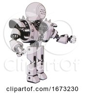 Bot Containing Dots Array Face And Heavy Upper Chest And Heavy Mech Chest And Shoulder Spikes And Prototype Exoplate Legs White Halftone Toon Interacting