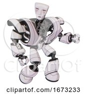 Automaton Containing Humanoid Face Mask And Blood Tears And Heavy Upper Chest And Heavy Mech Chest And Light Leg Exoshielding White Halftone Toon Fight Or Defense Pose