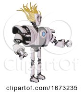 Android Containing Humanoid Face Mask And War Paint And Heavy Upper Chest And Heavy Mech Chest And Blue Energy Fission Element Chest And Ultralight Foot Exosuit White Halftone Toon Interacting