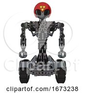 Mech Containing Grey Alien Style Head And Black Eyes And Triangle Design And Red Helmet And Heavy Upper Chest And No Chest Plating And Tank Tracks Patent Concrete Gray Metal Front View