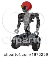 Mech Containing Grey Alien Style Head And Black Eyes And Triangle Design And Red Helmet And Heavy Upper Chest And No Chest Plating And Tank Tracks Patent Concrete Gray Metal