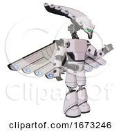 Mech Containing Flat Elongated Skull Head And Light Chest Exoshielding And Prototype Exoplate Chest And Cherub Wings Design And Light Leg Exoshielding White Halftone Toon Interacting