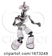 Automaton Containing Dual Retro Camera Head And Reversed Fin Head And Light Chest Exoshielding And No Chest Plating And Light Leg Exoshielding White Halftone Toon Fight Or Defense Pose
