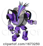 Droid Containing Bird Skull Head And Yellow And Green Scope Eyes And Head Shield Design And Heavy Upper Chest And Chest Vents And Blue Strip Lights And Prototype Exoplate Legs