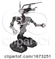 Automaton Containing Dual Retro Camera Head And Communications Array Head And Heavy Upper Chest And No Chest Plating And Tank Tracks White Halftone Toon Interacting
