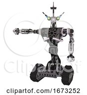 Automaton Containing Dual Retro Camera Head And Communications Array Head And Heavy Upper Chest And No Chest Plating And Tank Tracks White Halftone Toon Arm Out Holding Invisible Object