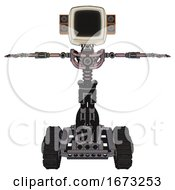 Cyborg Containing Old Computer Monitor And Old Retro Speakers And Light Chest Exoshielding And No Chest Plating And Tank Tracks Grayish Pink T Pose