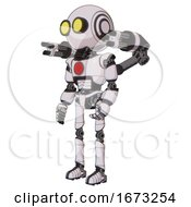 Poster, Art Print Of Robot Containing Round Head And Large Yellow Eyes And Light Chest Exoshielding And Red Chest Button And Minigun Back Assembly And Ultralight Foot Exosuit White Halftone Toon Facing Right View