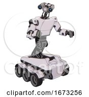 Droid Containing Dual Retro Camera Head And Simple Blue Telescopic Eye Head And Light Chest Exoshielding And Prototype Exoplate Chest And Six Wheeler Base White Halftone Toon Fight Or Defense Pose